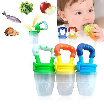 Portable Baby Infant Food Nipple Feeder Silicone Pacifier Fruits Feeding Supp...