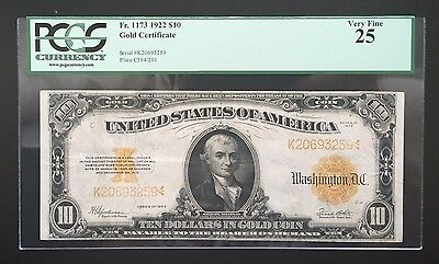 $10 Series 1922 Gold Certificate / Speelman & White / Pcgs 25 Very Fine