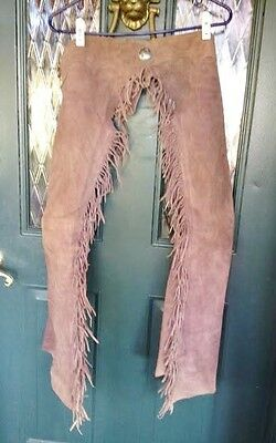 Vintage Taupe Brown Suede Chaps with Fringe Worn-1970's-80's