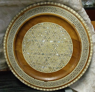 Vintage Star Patterns Inlaid Mosaic Wood Wall Plate Mother of Pearl 9.5""