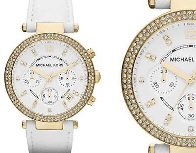 NEW Authentic Michael Kors Parker Swarovski White Leather Ladies Watch MK2290