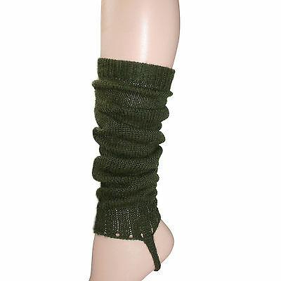 100% Alpaca Wool Leg Warmers for Girls ~ Forest Green Legwarmers Accessories