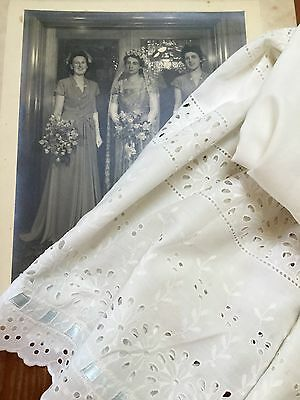VINTAGE 1950's LADIES ROCKABILLY BRODERIE ANGLAISE COTTON PETTICOAT HALF SLIP