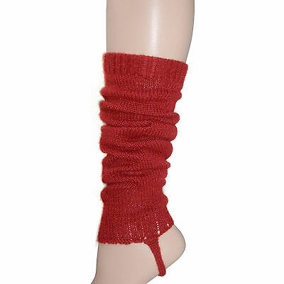 100% Alpaca Wool Knit Leg Warmers for Girls ~ Solid Red Legwarmers Accessories