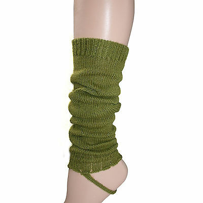 100% Alpaca Wool Leg Warmers for Girls ~ Cane Green Legwarmers Accessories