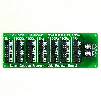 1R - 9.999999MR Seven Decade Programmable Resistor Board, Step 1R, 1%, 1/2Watt.
