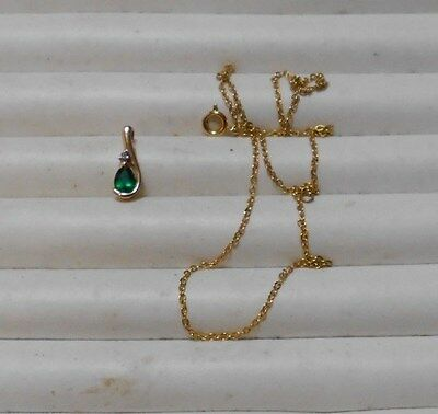 10k Gold Green Amethyst and Diamond Pendant and chain