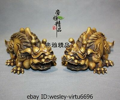 Chinese Palace Royal Old Bronze Copper Gild Fengshui Fu Foo Dog Lion Statue Pair