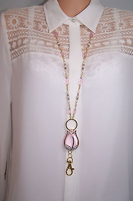 Pink Tulip and Cream Pearl Beaded Lanyard / Work ID Badge With Matching Earrings