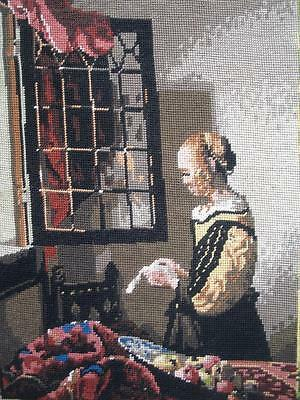 """VINTAGE Vermeer Completed cotton needlepoint Girl Reading a Letter 18.6""""x14.2"""""""