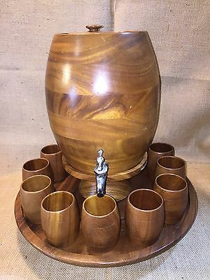 Vintage Wood Wooden Keg Barrel Decanter Lazy Susan 12 Cups Punch Set Rum Whiskey