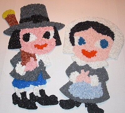 Melted Popcorn Plastic Decorations THANKSGIVING Pilgrims Girl & Boy