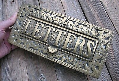 Old Heavy Solid Brass Letter Box Plate / Door Mail Slot / Knocker / Vintage