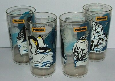 4 x different plastic beakers depicting penguins and penguin facts