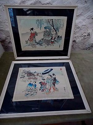 Lovely Pair Antique Japanese Woodblock Coloured Pictures On Parchment