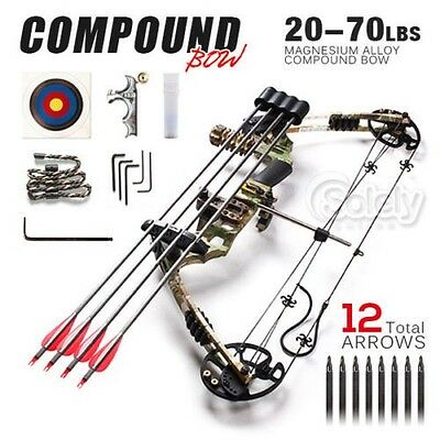 20-70lbs Magnesium Alloy Adjustable Compound Bow Archery Hunting Double Limbs
