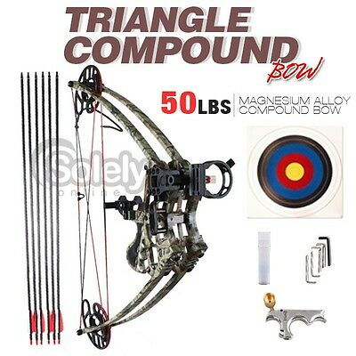 50lbs Left & Right Handed Magnesium Alloy Triangle Compound Bow Hunting Camo New