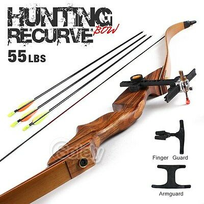 55lbs Adult Recurve Bow Archery Shooting Wooden Hunting Armguard Finger Guard