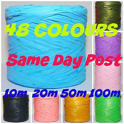 RAFFIA ribbon 48 COLOURS * 100m * Decorating Flowers Gifts Crafts Scrapbooks