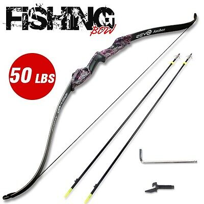 50LBS RevoArcher Camo Fishing Bow PRO Archery Fish Hunting Bowfishing 2 Arrows