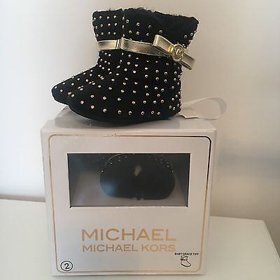 BNIB Michael Kors/Kors Kids Baby Girls Grace Tiff Faux Fur-lined Studded Boots
