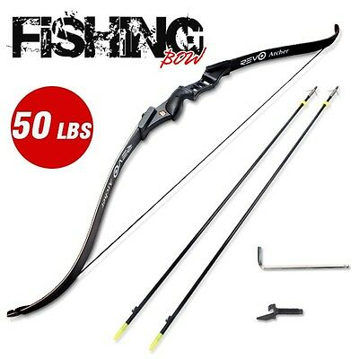 50LBS RevoArcher Black Fishing Bow PRO Archery Fish Hunting Bowfishing 2 Arrows