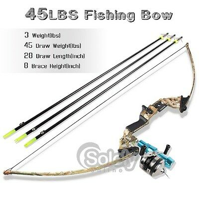 45LBS Camo Bow Fishing PRO Archery Fish Hunting Bowfishing Kit 3 Arrows Reel NEW