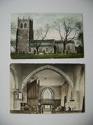 (141) Two vintage postcards of Great Coates Church, Grimsby both used 1905/1906