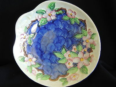 "Maling ""clematis"" Dish-Wave Decoration-Lustre Glaze-Very Good Condition"