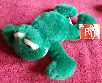 Hard To Find Russ Berrie Fleegle Dark Green Frog Plush Soft Toy Free Uk P&p