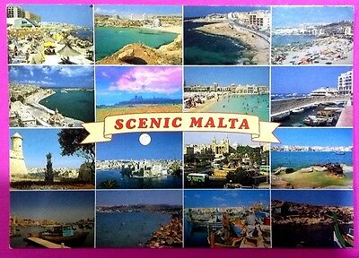 Malta postcard: Scenic Mala,by John Hinde, posted with stamp.