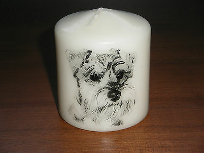 Candle Picture Schnauzer Dog #2 Can be Personalised Gift Birthday Memorial New