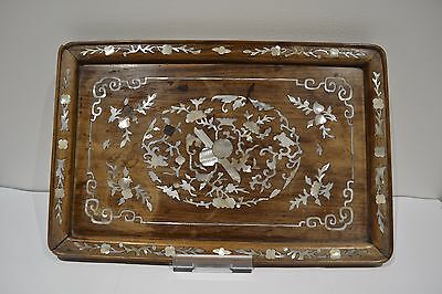 Antique Chinese Mother Of Pearl Inlaid Wooded Tray