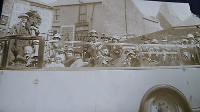 Old Rp Postcard Charabanc Bus Coach Wesleyan Sunday School Outing Weymouth