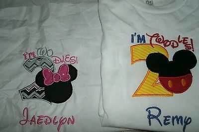 I'm Twodles Mickey OR Minnie Personalized Shirt  Any name,number & color scheme