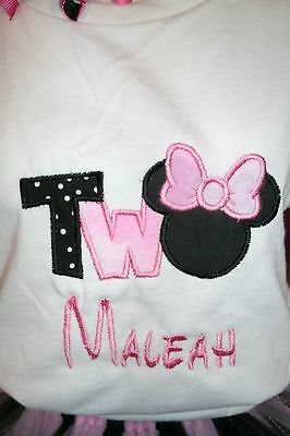 Minnie Two Birthday Number Personzlied Shirt ANY NAME & COLOR SCHEME