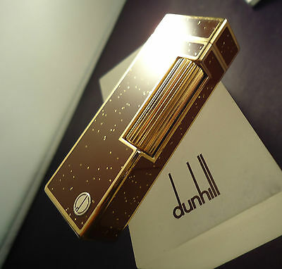 Dunhill Rollagas Lighter - Brown Gold Dust Lacquer - Cased - Feuerzeug - Briquet