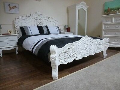 King Size Rococo Bed In White - Handmade & Hand Carved