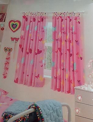 """GIRLS BEDROOM PINK BUTTERFLY HEARTS LINED TAB TOP CURTAINS TIE BACKS 66x54"""""""