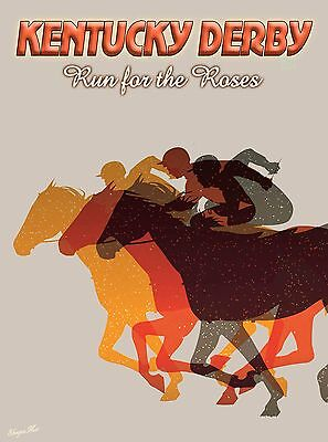 Kentucky Derby Horse Race Run for the Roses Travel Advertisement Art Poster 3