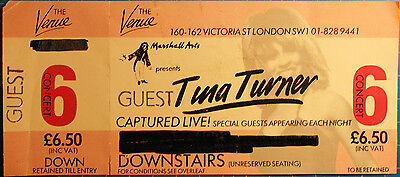 TINA TURNER  - ticket 1983 the venue londres