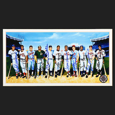 """500 Home Run Club 25""""x41"""" Framed All 11 Autographs Mays Mantle Aaron Ron Lewis"""
