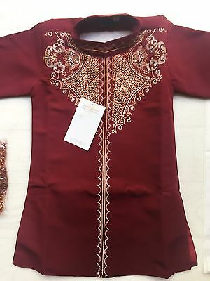 Boys Baby Indian Bollywood Costume Prince Sherwani Shirt Kurta 1 yrs Red