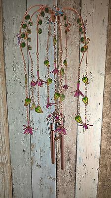 Hand Made Fuschia Wind Chime, Metal & Resin Garden Wind Chime Gift - FREE P&P