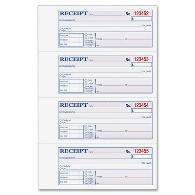 """Adams Money and Rent Receipt Book, 3-Part, Carbonless, White/Canary/Pink,7 5/8"""""""