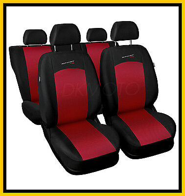 CAR SEAT COVERS Full set Universal fit Volkswagen VW Polo - black/red