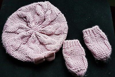 George Cute Winter Beret Hat with mittens Dusky Pink 6-12 months
