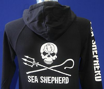 Unisex Hoodie, Jolly Roger, Zip or Pullover, Sea Shepherd Black & Grey