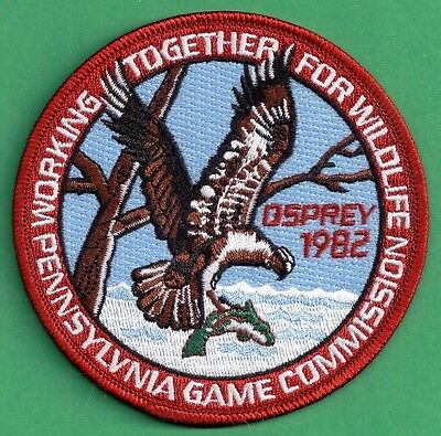 "Pa Pennsylvania Game Fish Commission NEW 4"" WTFW 1982 Osprey REPRODUCTION PATCH"
