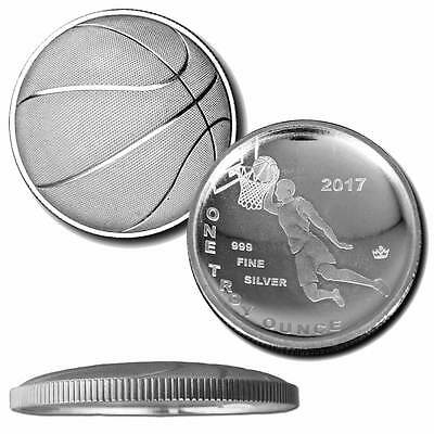 2017 Basketball Curved Domed 3D 1 oz .999 Silver BU Round MARCH MADNESS USA Coin